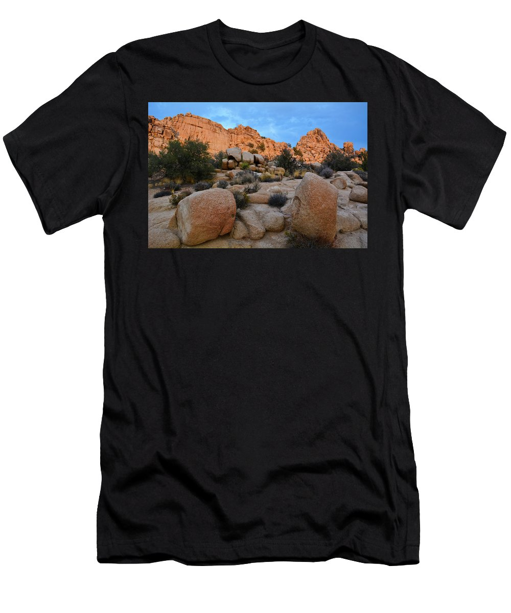 Joshua Tree Men's T-Shirt (Athletic Fit) featuring the photograph Hidden Valley Sunset by Kyle Hanson