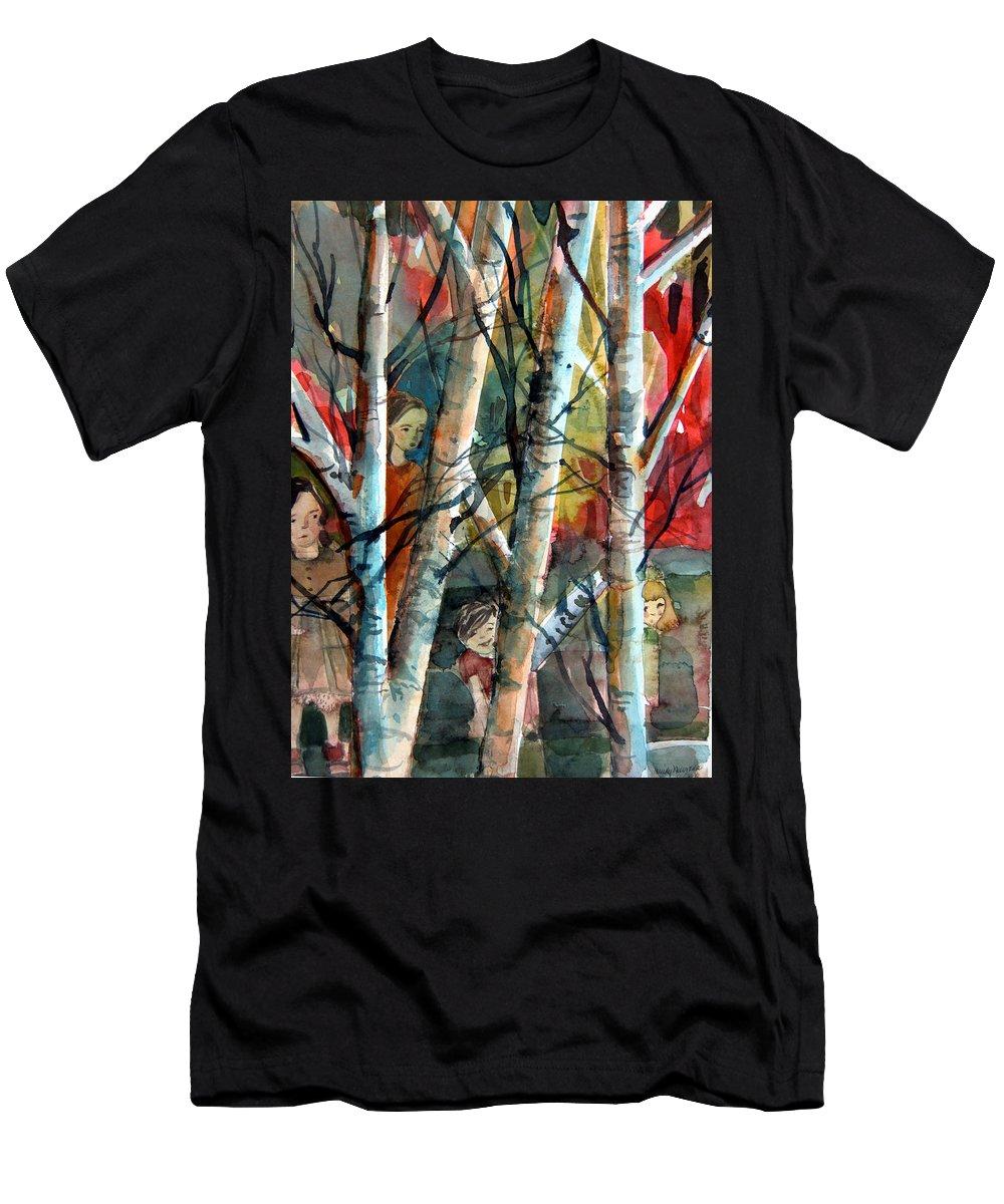 Watercolor Men's T-Shirt (Athletic Fit) featuring the painting Hide And Go Seek by Mindy Newman