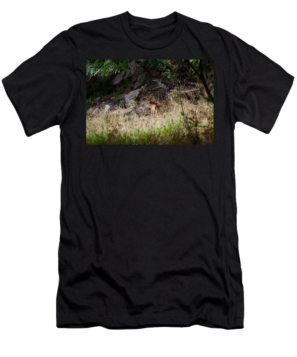 James Smullins Men's T-Shirt (Athletic Fit) featuring the photograph Hiding Behind A Twig by James Smullins