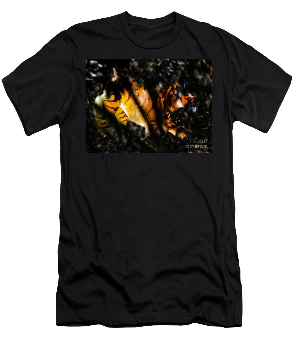 Art Men's T-Shirt (Athletic Fit) featuring the painting Hiding Tiger by David Lee Thompson