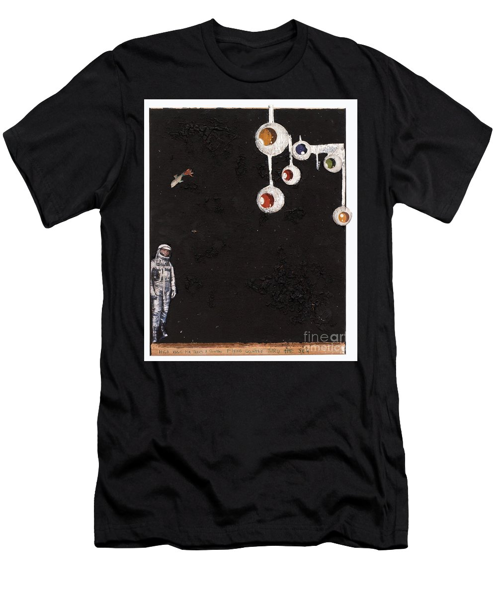 Spaceman Men's T-Shirt (Athletic Fit) featuring the mixed media High Above Him There by Jaime Becker