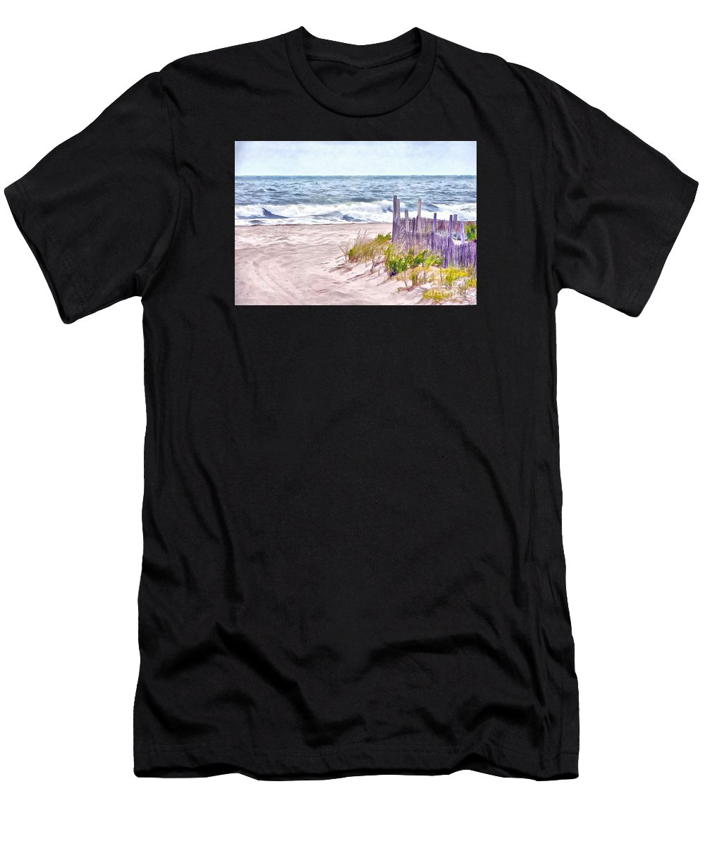 Island Beach State Park Men's T-Shirt (Athletic Fit) featuring the photograph High Tides by Helene Guertin
