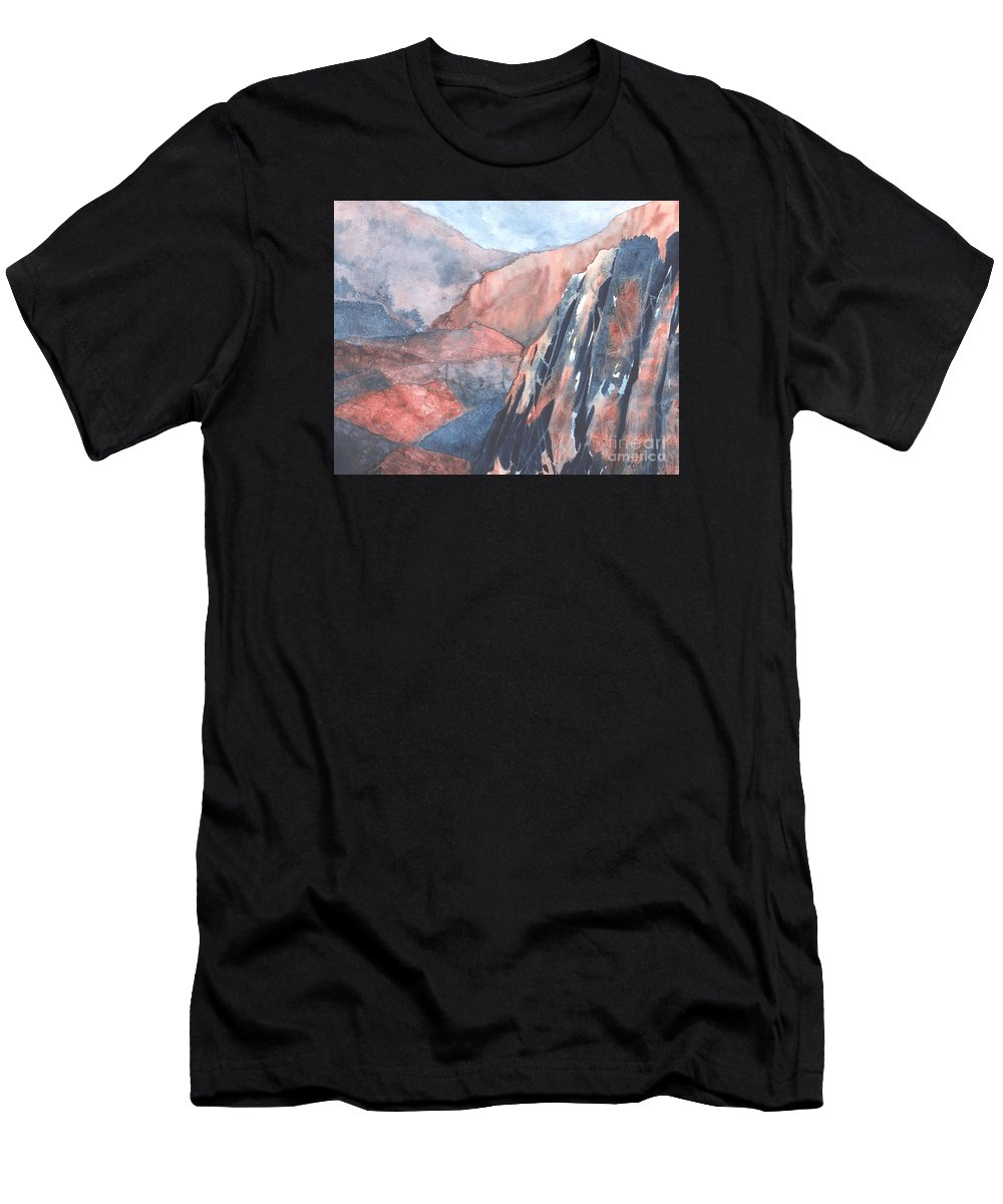 Landscape Men's T-Shirt (Athletic Fit) featuring the painting Higher Ground by Lynn Quinn
