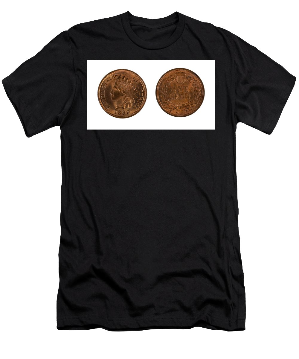 Coin Men's T-Shirt (Athletic Fit) featuring the photograph Highly Graded American Indian Head Cents On White Background by Thomas Baker