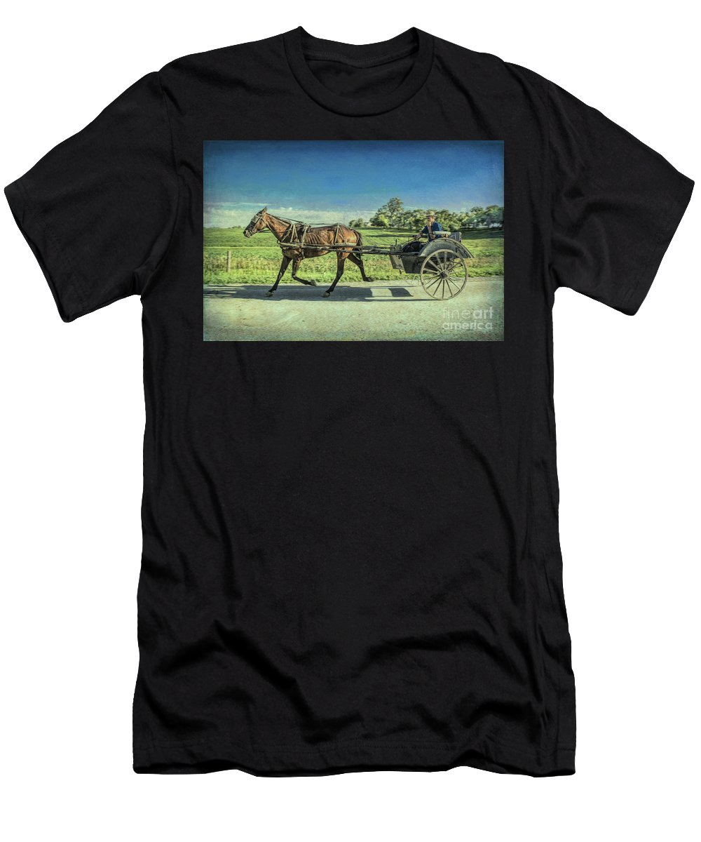 Amish Men's T-Shirt (Athletic Fit) featuring the photograph Heading Home by Lynn Sprowl