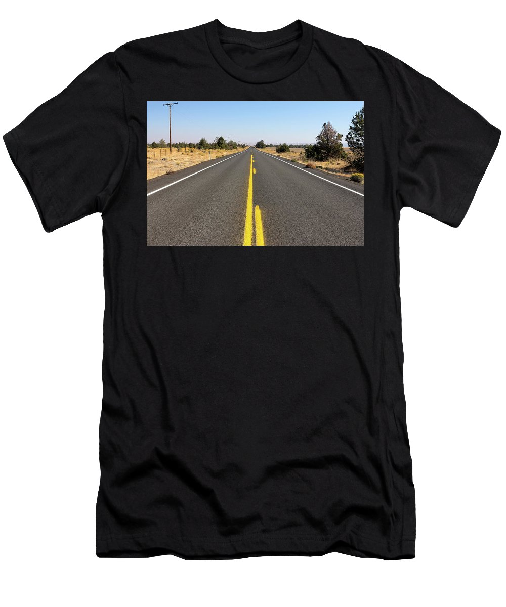 Highway Men's T-Shirt (Athletic Fit) featuring the photograph Highway In Central Oregon by David Gn