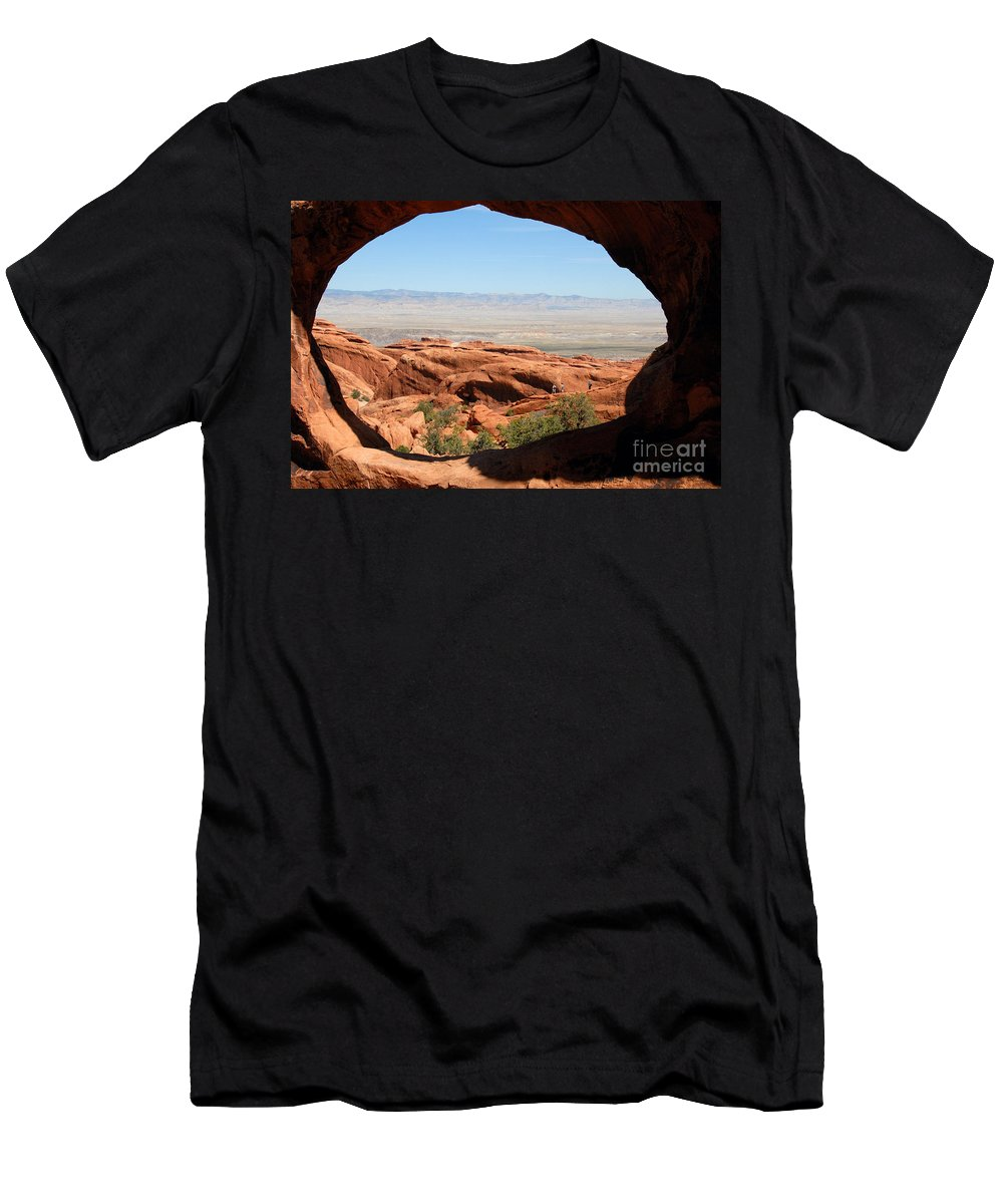 Arches National Park Utah Men's T-Shirt (Athletic Fit) featuring the photograph Hiking Through Arches by David Lee Thompson