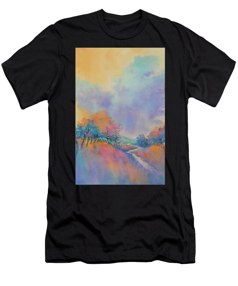 Texas T-Shirt featuring the painting Hill Country Back Road No 1 by Virgil Carter