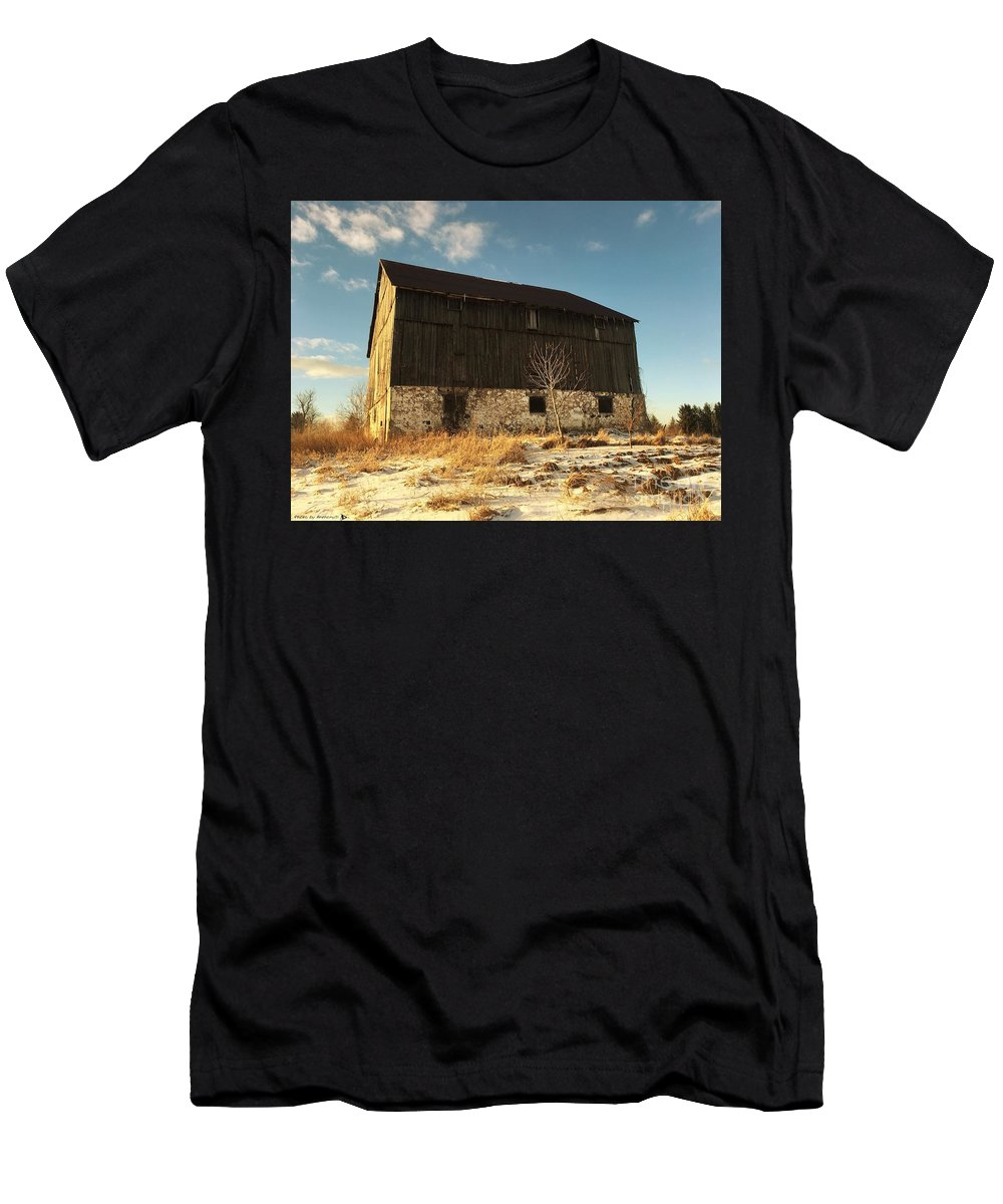 Winter Barn Men's T-Shirt (Athletic Fit) featuring the photograph Hill Top Barn by Anthony Djordjevic