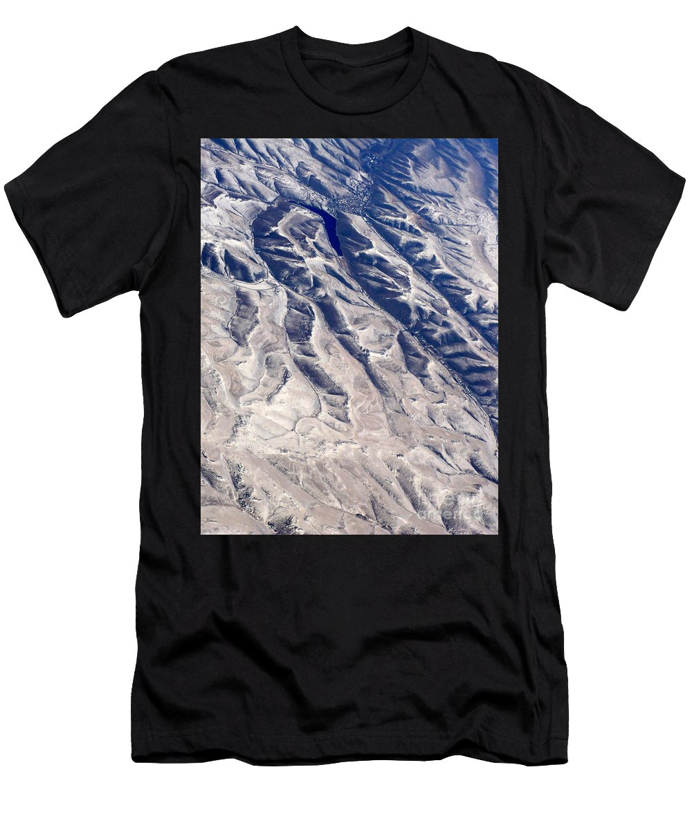 Aerial Men's T-Shirt (Athletic Fit) featuring the photograph Hills And Valleys Aerial by Carol Groenen