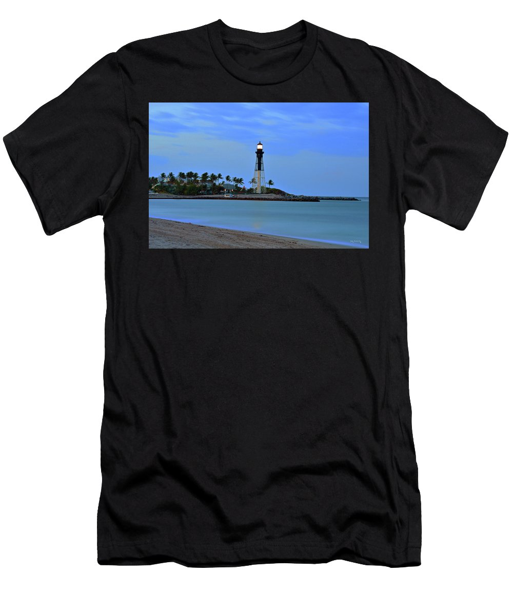 Delray Men's T-Shirt (Athletic Fit) featuring the photograph Hillsboro Lighthouse Twilight Time by Ken Figurski