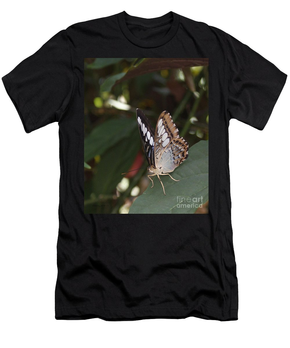 Butterfly Men's T-Shirt (Athletic Fit) featuring the photograph Hints Of Blue by Shelley Jones