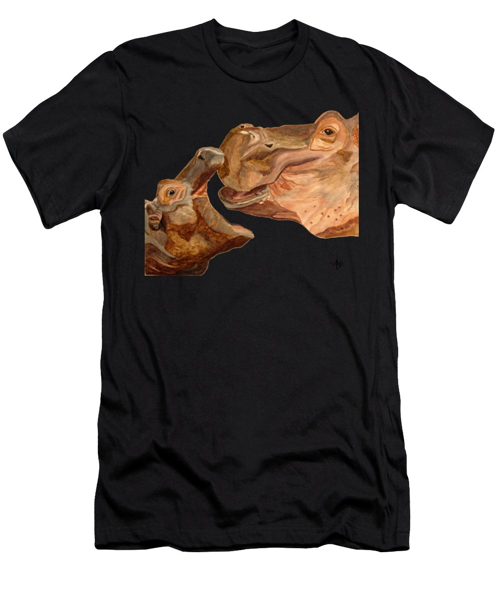 Hippos Men's T-Shirt (Athletic Fit) featuring the painting Hippos by Angeles M Pomata