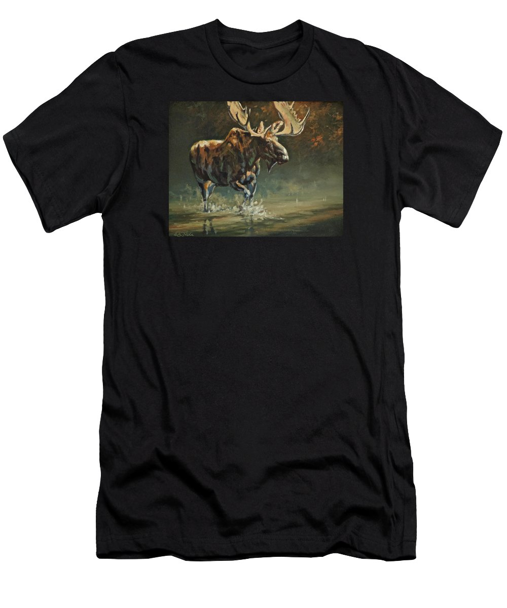 Moose. Bull Moose Men's T-Shirt (Athletic Fit) featuring the painting His Majesty by Mia DeLode