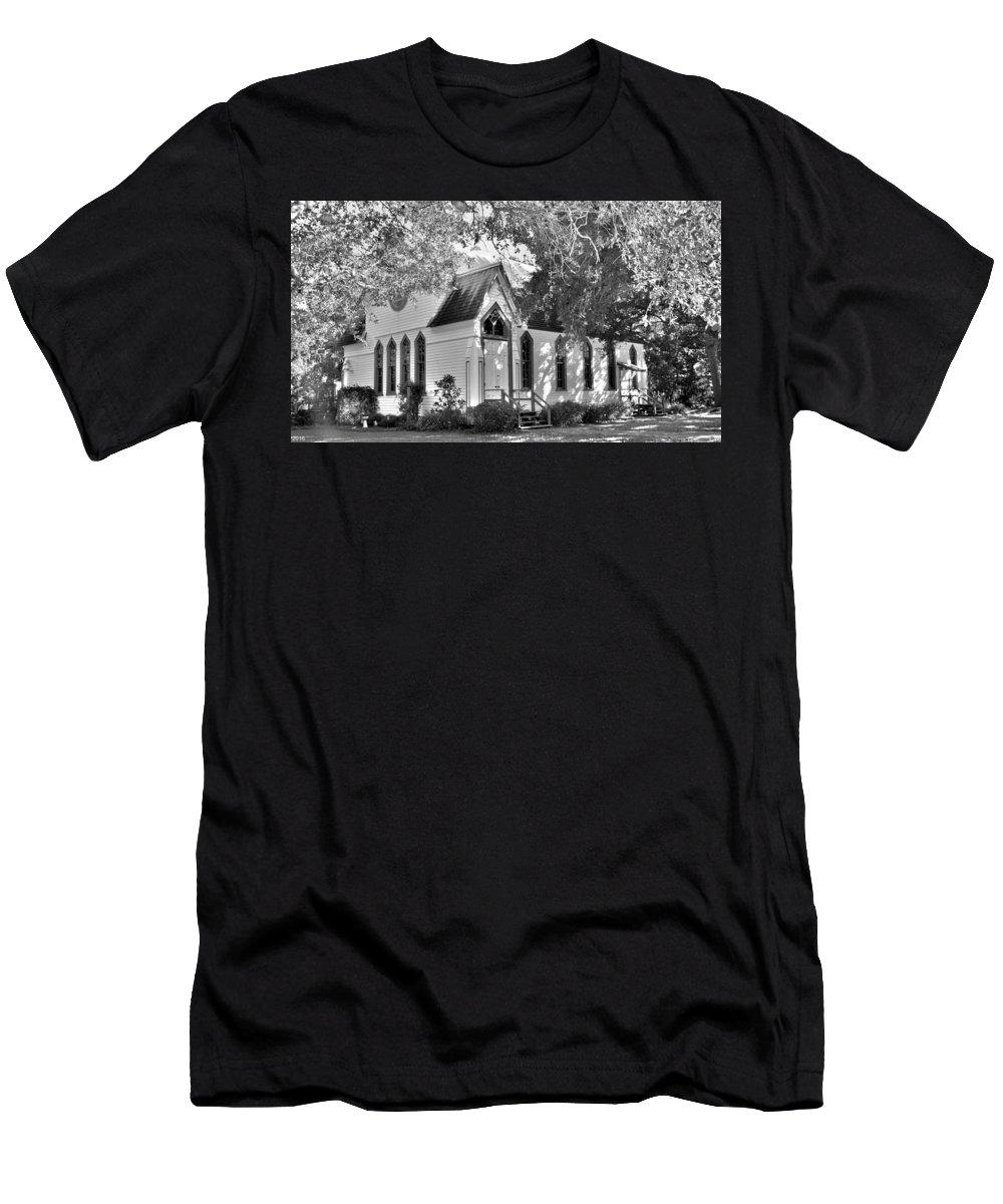 Historic Andrews Memorial Chape Dunedin Florida Black And Whitel Men's T-Shirt (Athletic Fit) featuring the photograph Historic Andrews Memorial Chapel Dunedin Florida Black And White by Lisa Wooten
