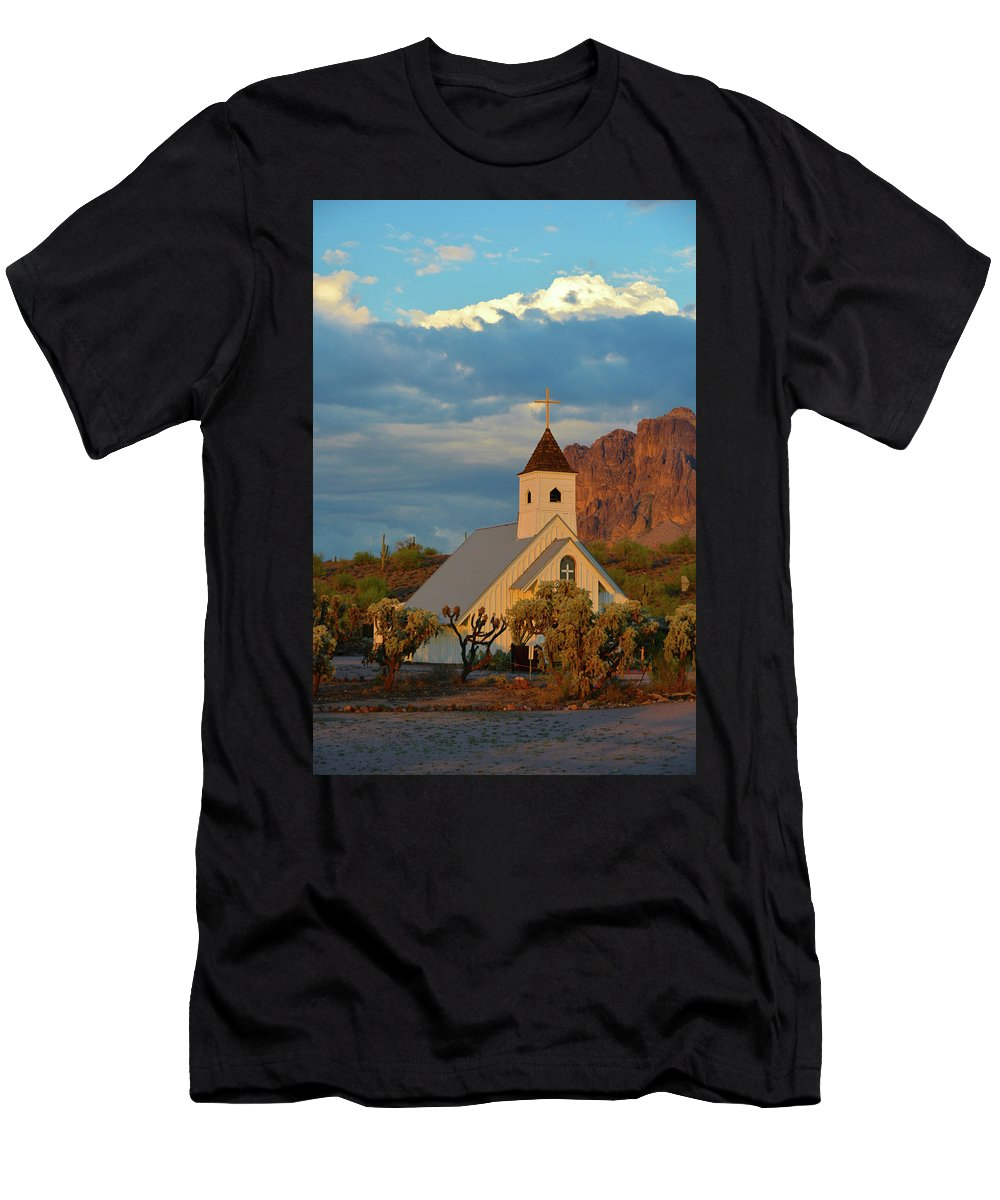Scenic Men's T-Shirt (Athletic Fit) featuring the photograph Historic Church In Superstition Mountain State Park by Richard Jenkins
