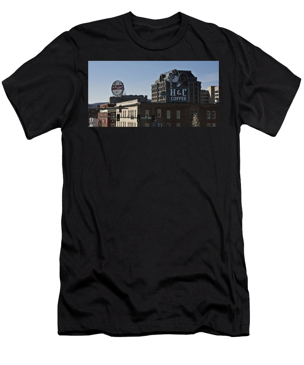 Roanoke Men's T-Shirt (Athletic Fit) featuring the photograph Historic Landmark Signs Roanoke Virginia by Teresa Mucha