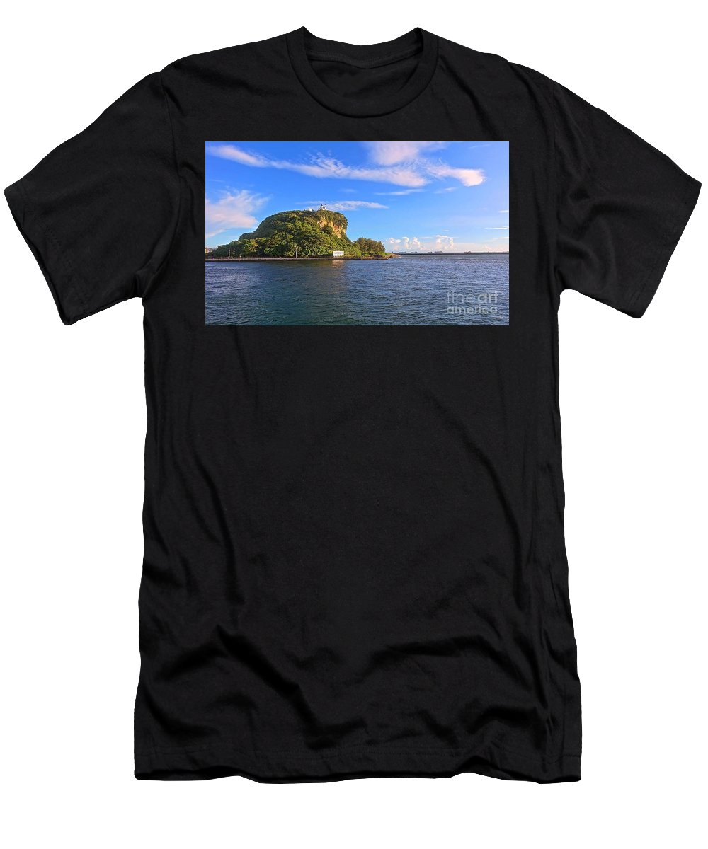 Kaohsiung Men's T-Shirt (Athletic Fit) featuring the photograph Historic Lighthouse On Chijin Island by Yali Shi