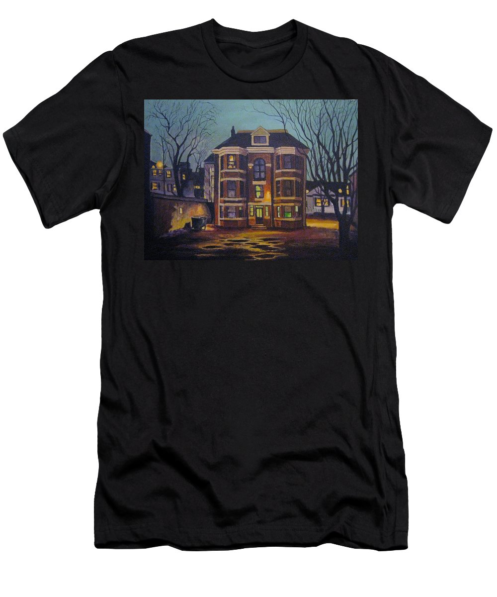 Moody Men's T-Shirt (Athletic Fit) featuring the painting Historic Property South End Haifax by John Malone