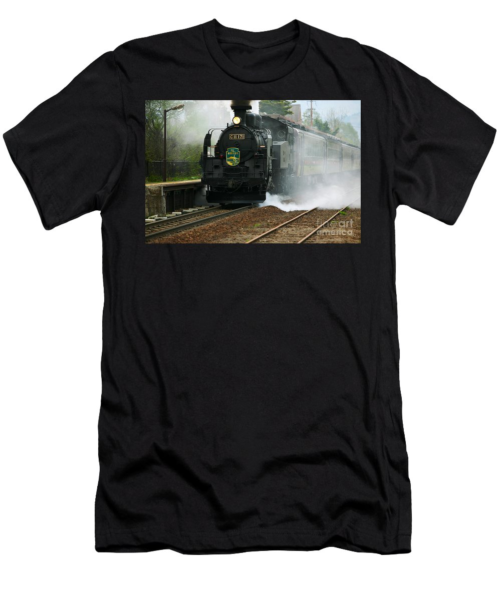 Architectural Art Men's T-Shirt (Athletic Fit) featuring the photograph Historic Steam Train by Larry Dale Gordon - Printscapes
