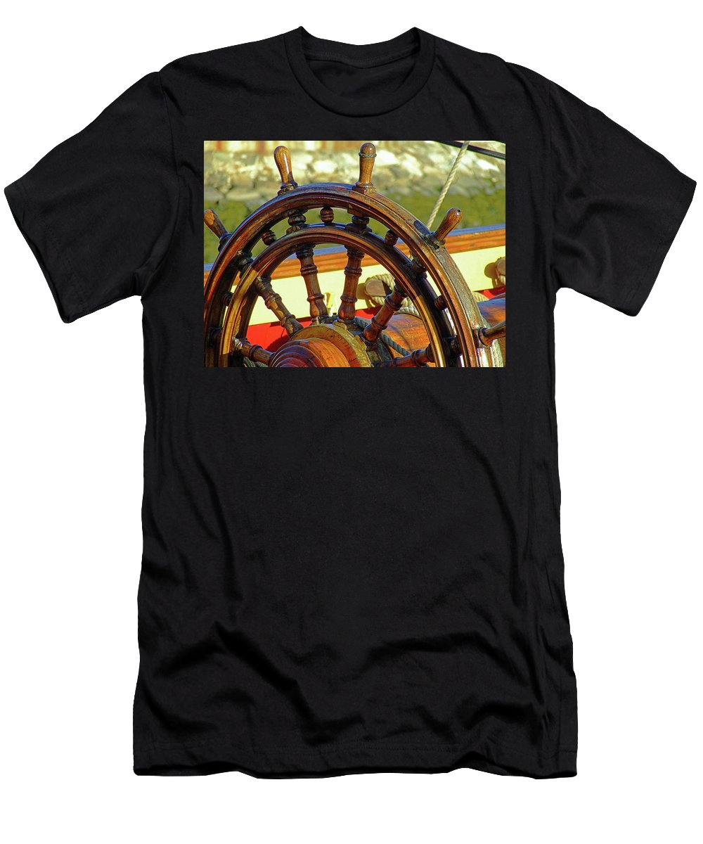 Ship Men's T-Shirt (Athletic Fit) featuring the photograph Hms Bounty Wheel by Brian Pflanz
