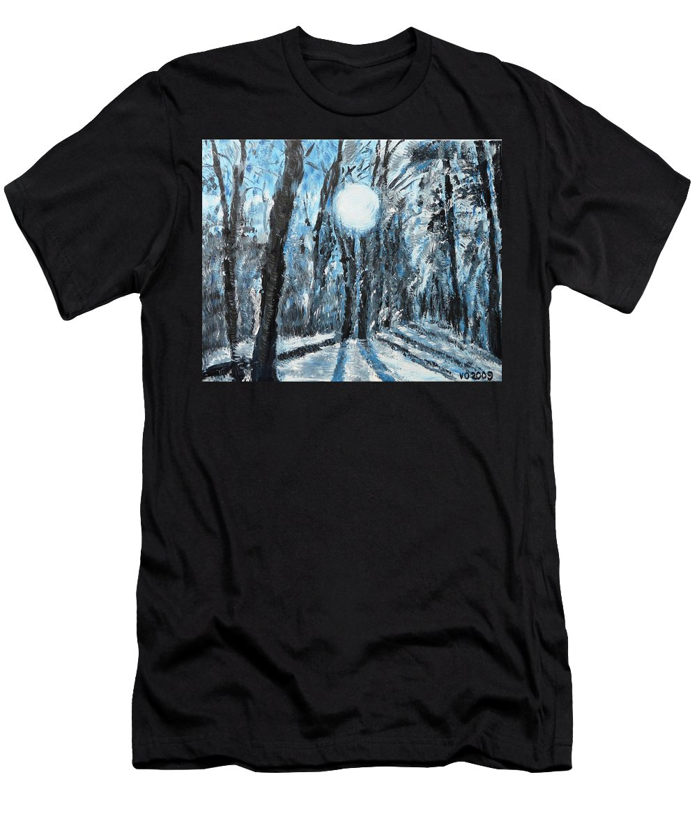 Landscape Men's T-Shirt (Athletic Fit) featuring the painting Hochleite In January by Valerie Ornstein
