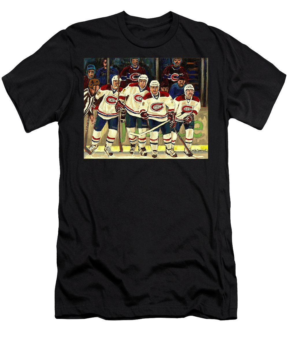 Hockey Art The Habs Fab Four T-Shirt featuring the painting Hockey Art The Habs Fab Four by Carole Spandau