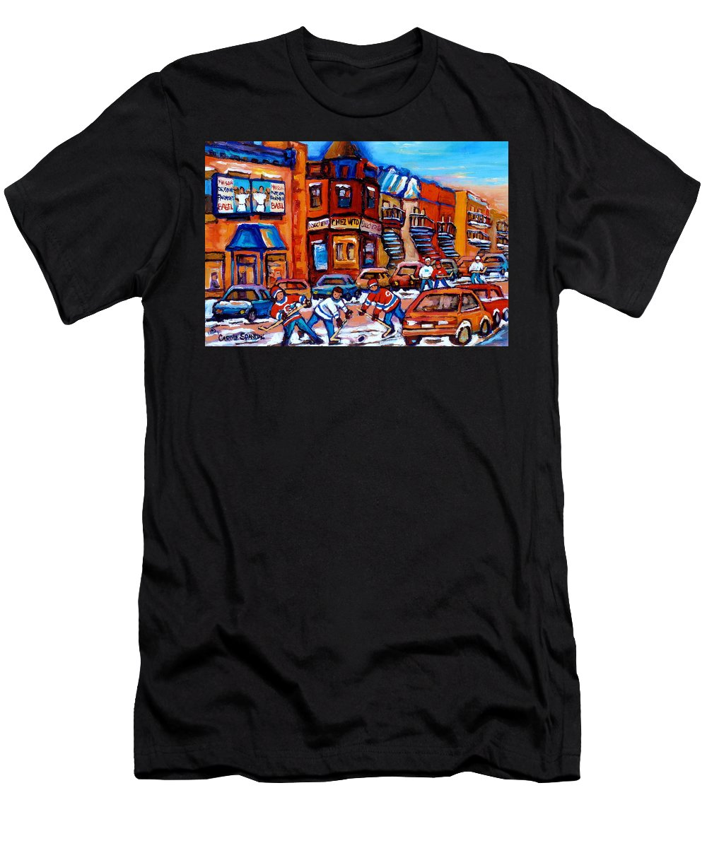 Fairmount Bagel Men's T-Shirt (Athletic Fit) featuring the painting Hockey At Fairmount Bagel by Carole Spandau