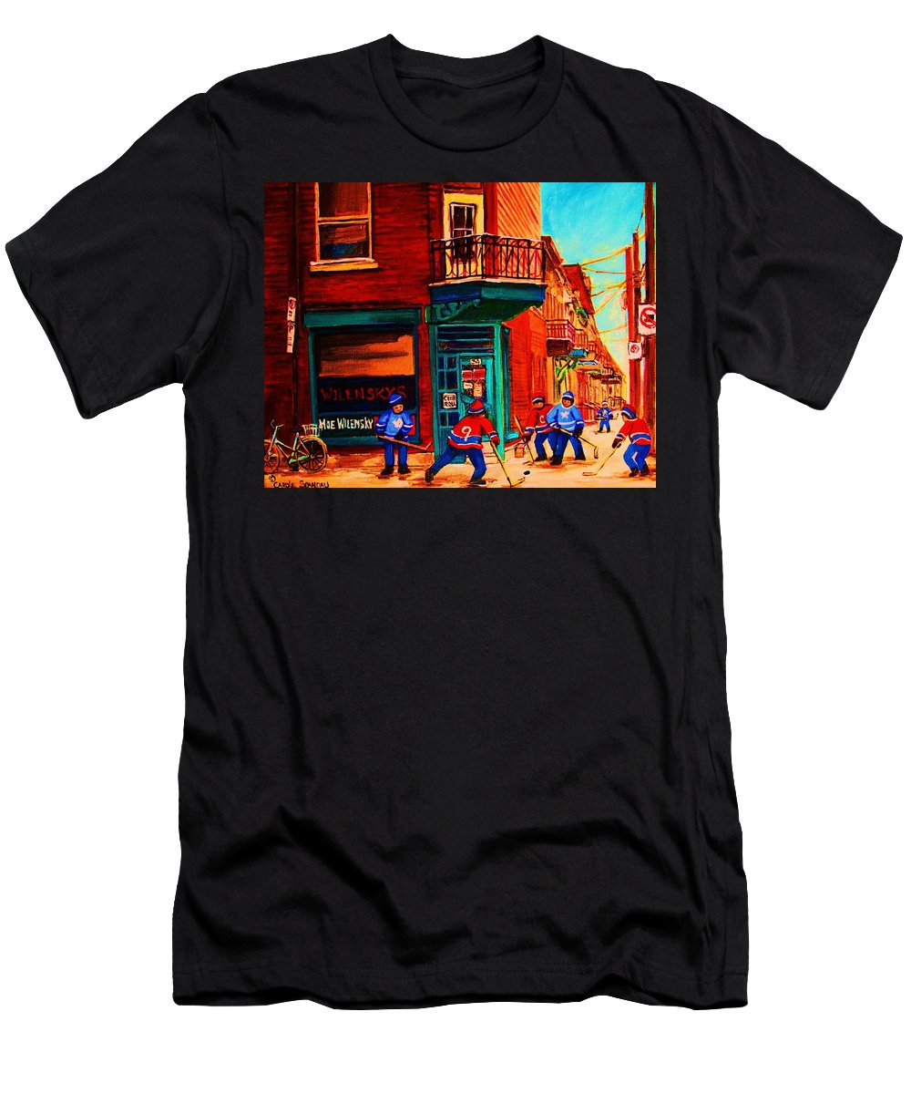 Wilenskys Men's T-Shirt (Athletic Fit) featuring the painting Hockey At Wilenskys Corner by Carole Spandau