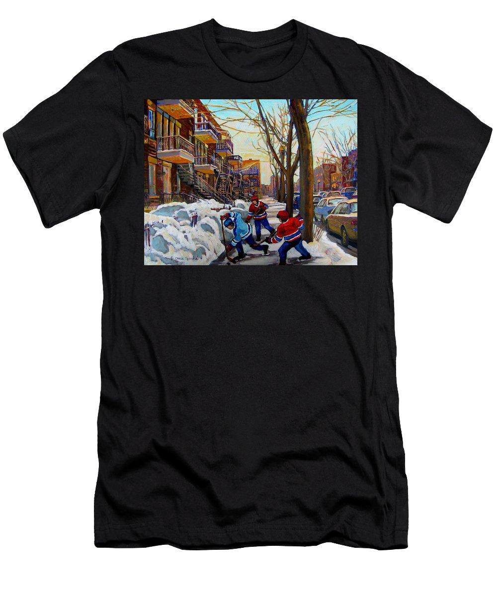 Hockey Canvas Prints Men's T-Shirt (Athletic Fit) featuring the painting Hockey On De Bullion by Carole Spandau