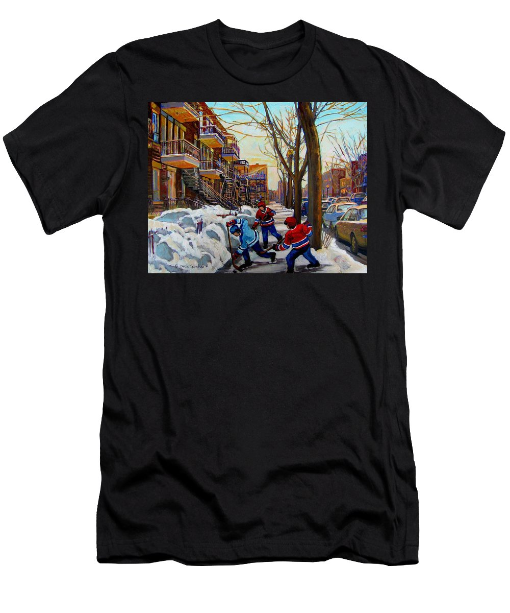 Hockey Canvas Prints T-Shirt featuring the painting Hockey On De Bullion by Carole Spandau