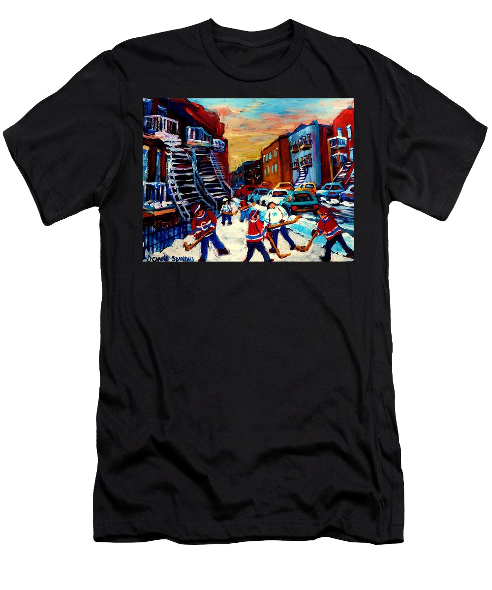 Montreal Men's T-Shirt (Athletic Fit) featuring the painting Hockey Paintings Of Montreal St Urbain Street City Scenes by Carole Spandau