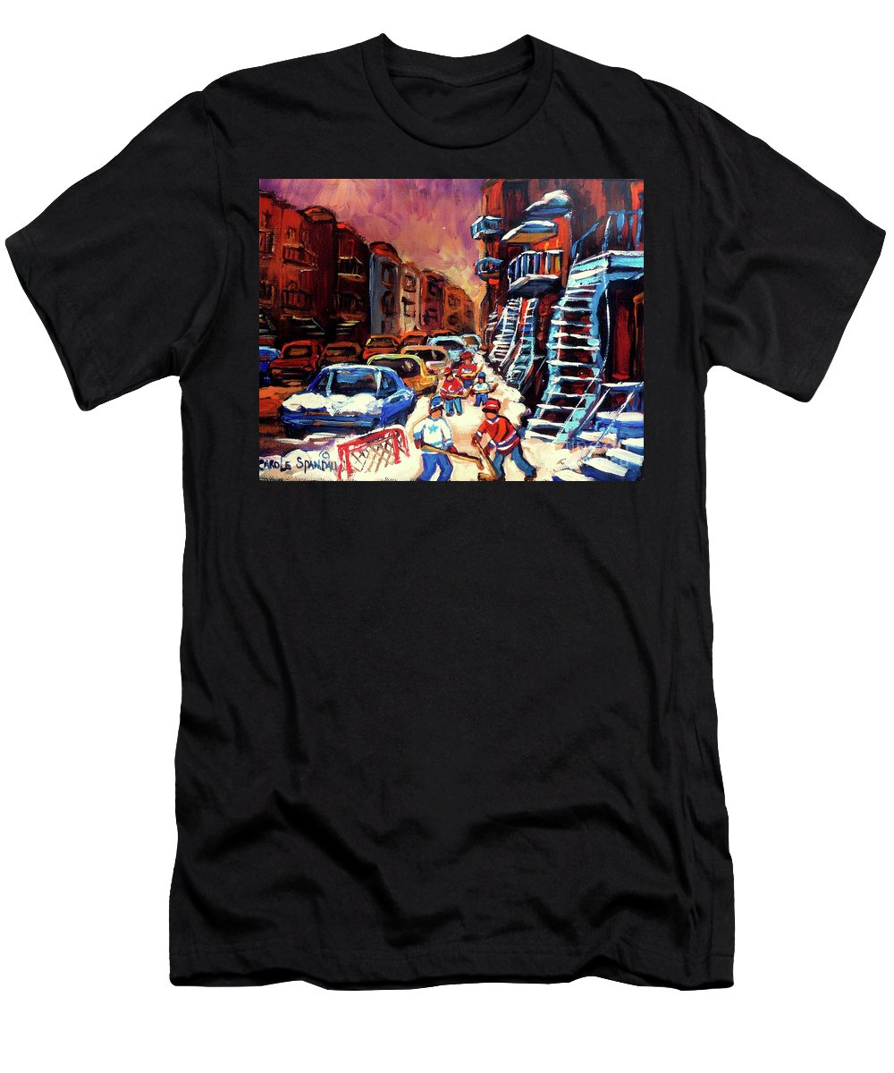 Montreal Men's T-Shirt (Athletic Fit) featuring the painting Hockey Paintings Of Montreal St Urbain Street Winterscene by Carole Spandau