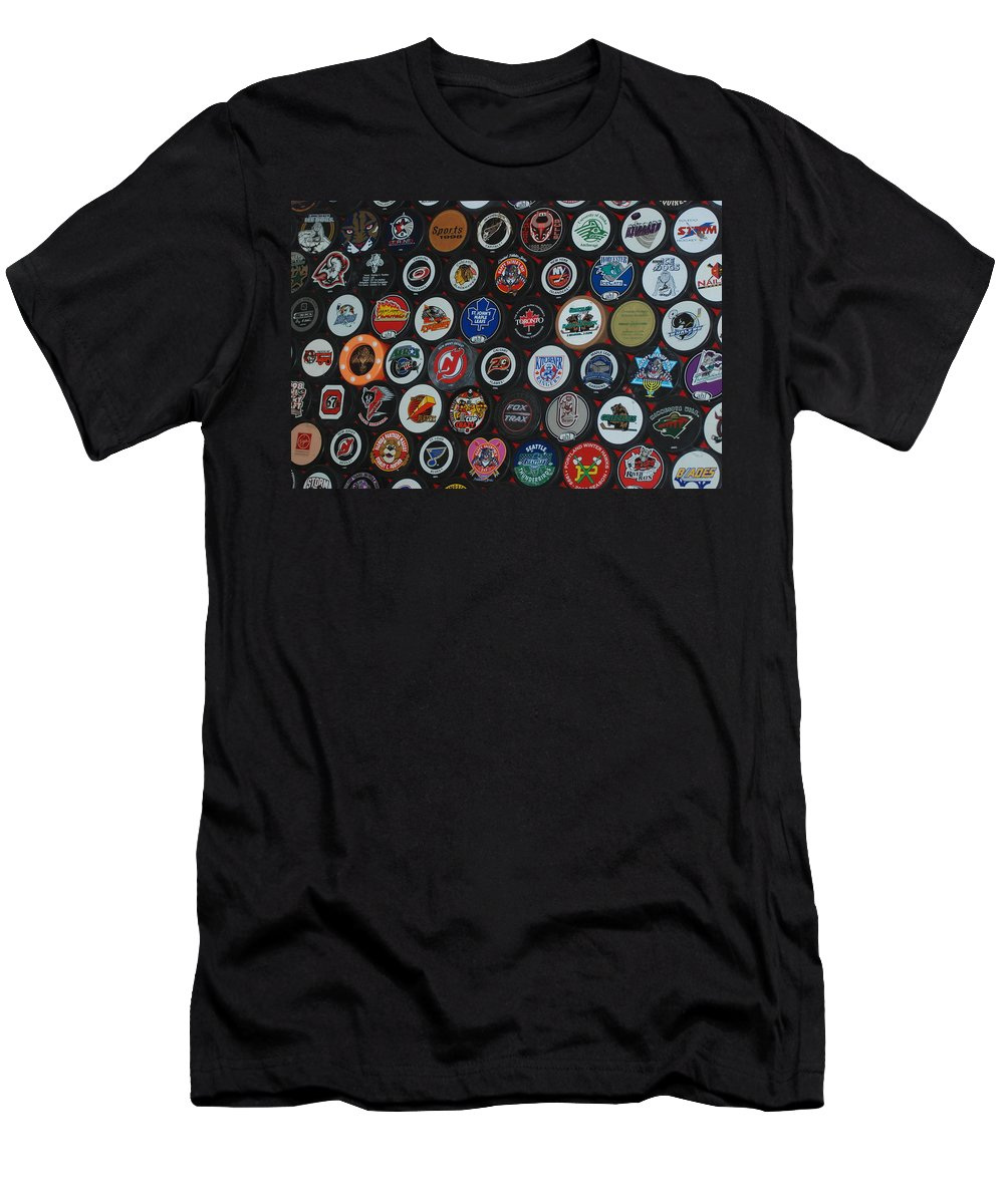 Pop Art Men's T-Shirt (Athletic Fit) featuring the photograph Hockey Pucks by Rob Hans