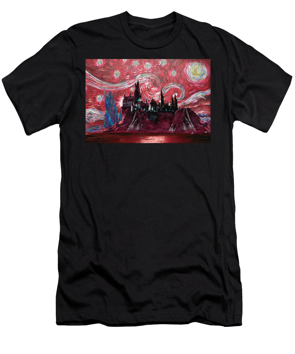 Hogwarts Starry Night Men's T-Shirt (Athletic Fit) featuring the digital art Hogwarts Starry Night In Red by Midex Planet