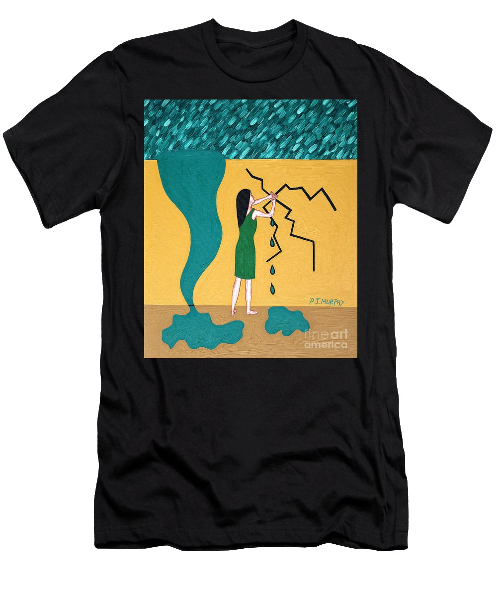 Urgency Men's T-Shirt (Athletic Fit) featuring the painting Holding Back The Flood by Patrick J Murphy
