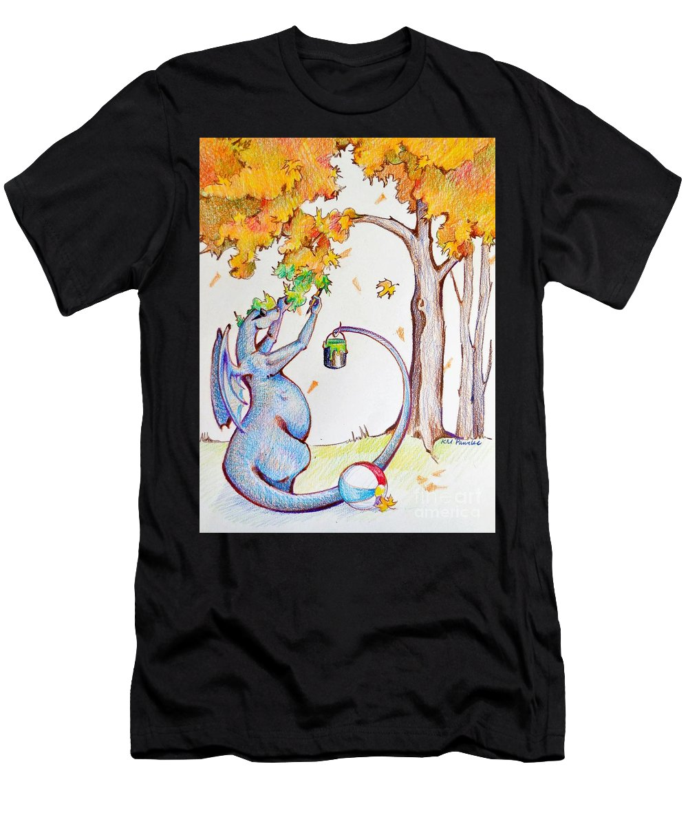Dragon Men's T-Shirt (Athletic Fit) featuring the drawing Holding Onto Summer by K M Pawelec