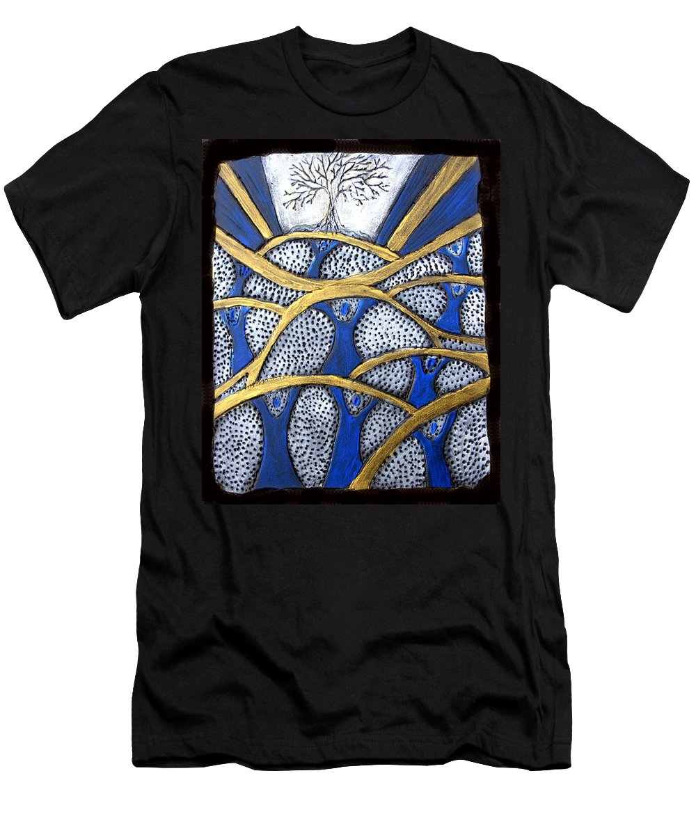 Tree Men's T-Shirt (Athletic Fit) featuring the painting Holding Up The Family Tree by Wayne Potrafka