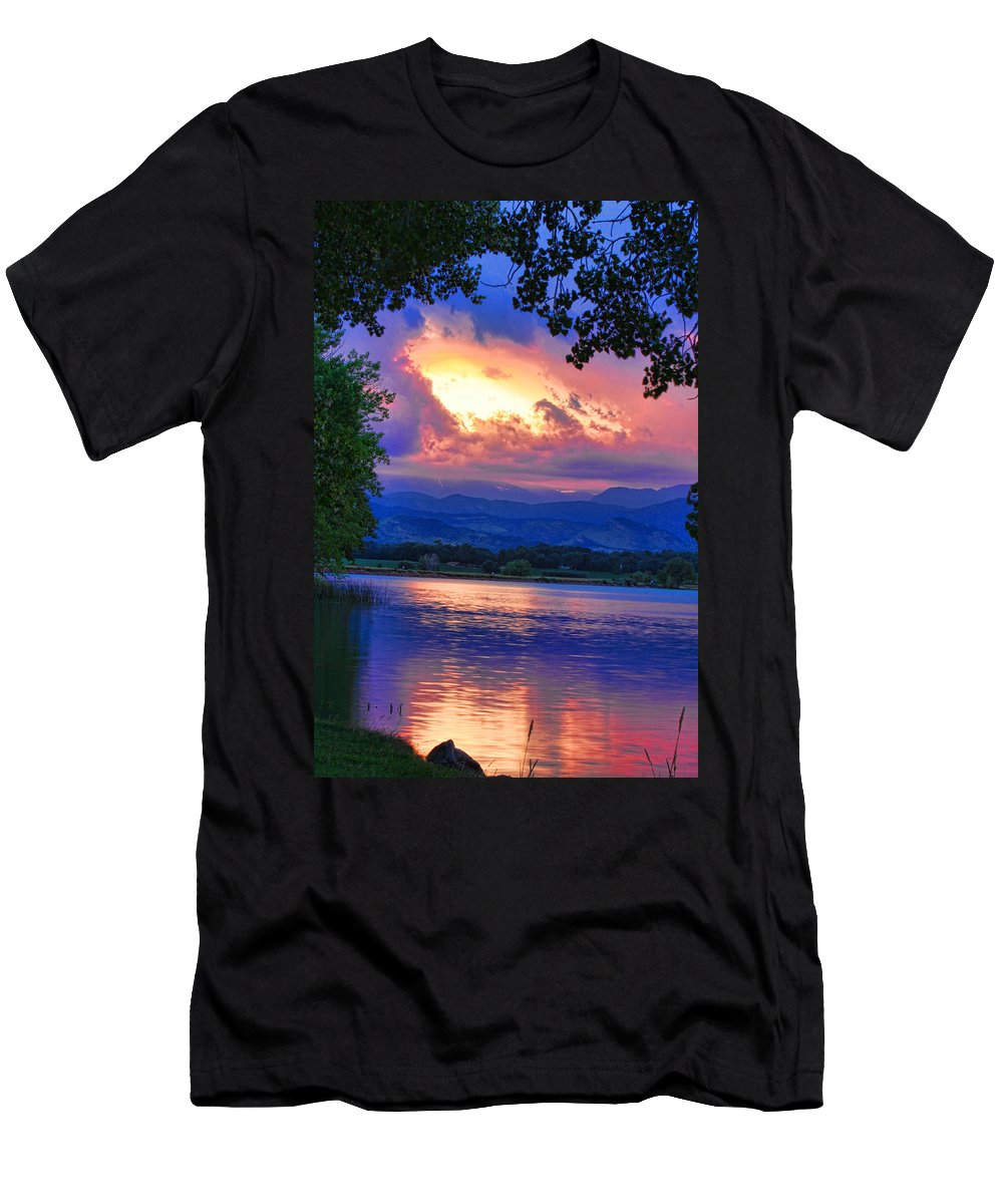 Sunsets Men's T-Shirt (Athletic Fit) featuring the photograph Hole In The Sky Sunset by James BO Insogna