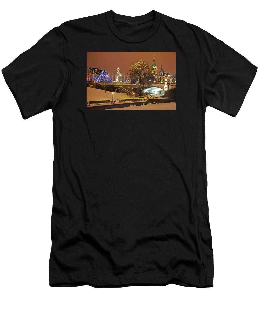 Holiday Ottawa Men's T-Shirt (Athletic Fit) featuring the photograph Holiday In Ottawa - Parliament And Peace Tower Night Lights by Alex Khomoutov