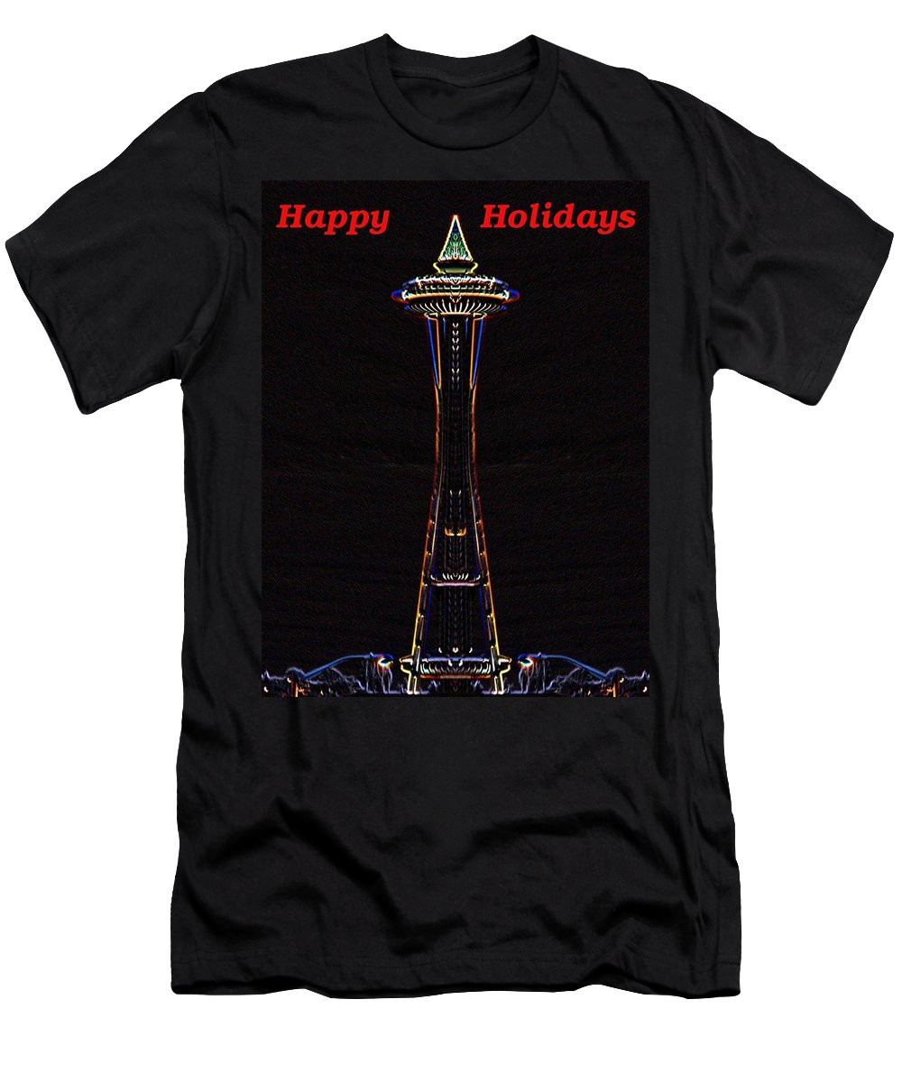 Seattle Men's T-Shirt (Athletic Fit) featuring the photograph Holiday Needle 3 by Tim Allen