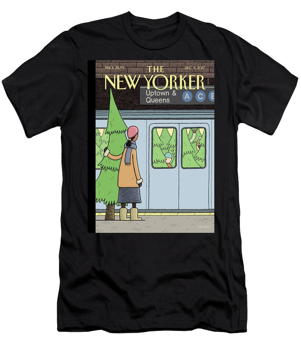 Holiday Track T-Shirt featuring the painting Holiday Track by Tom Gauld