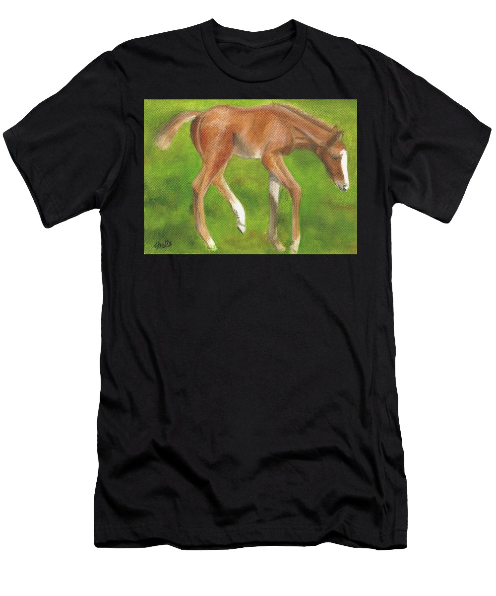 Horse Paintings Men's T-Shirt (Athletic Fit) featuring the painting Holly by Deborah Butts