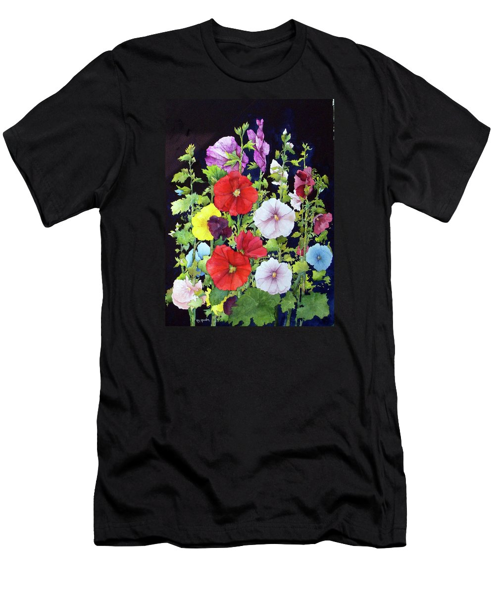Hollyhocks Men's T-Shirt (Athletic Fit) featuring the painting Hollyhocks by Ken Marsden