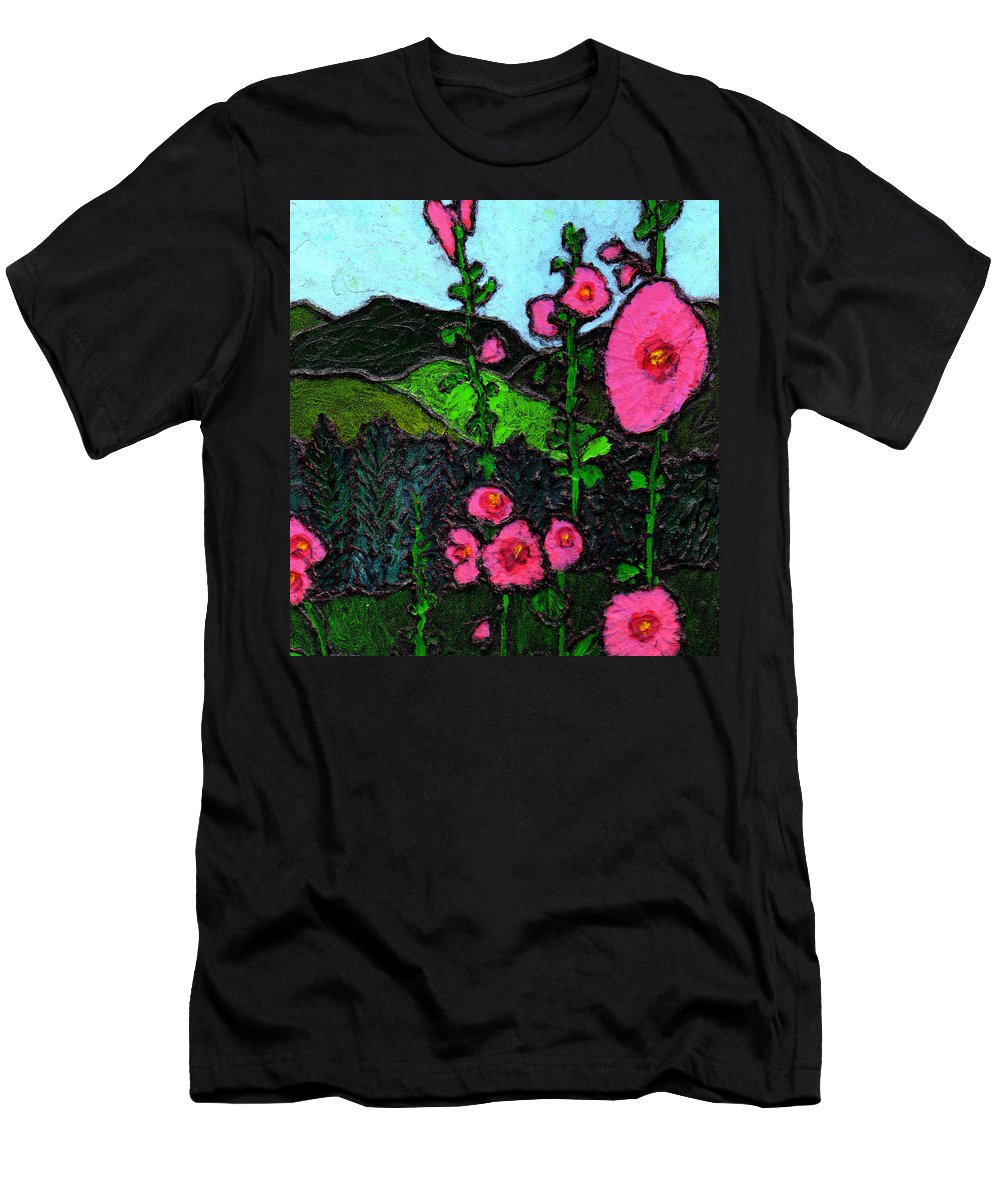 Hollyhocks Men's T-Shirt (Athletic Fit) featuring the painting Hollyhocks by Wayne Potrafka