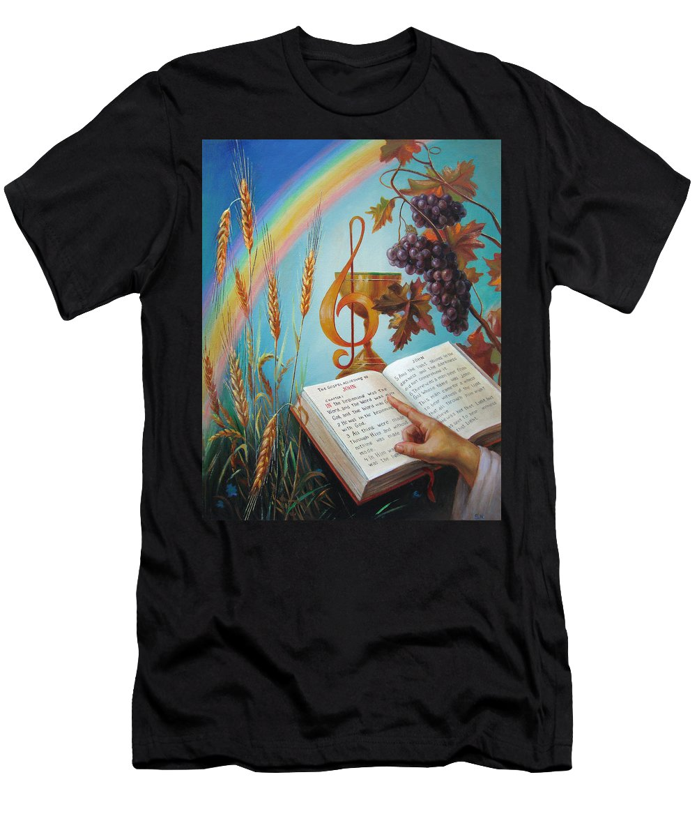 Holy Men's T-Shirt (Athletic Fit) featuring the painting Holy Bible - The Gospel According To John by Svitozar Nenyuk
