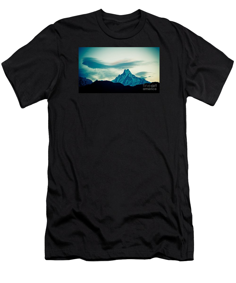 Annapurna Men's T-Shirt (Athletic Fit) featuring the photograph Holy Mount Fish Tail Machhapuchare 6998 M by Raimond Klavins