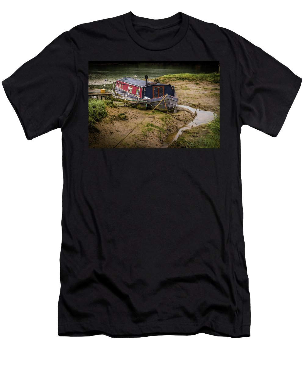 Boat Men's T-Shirt (Athletic Fit) featuring the photograph Home Is On The Mud by Peter Hayward Photographer