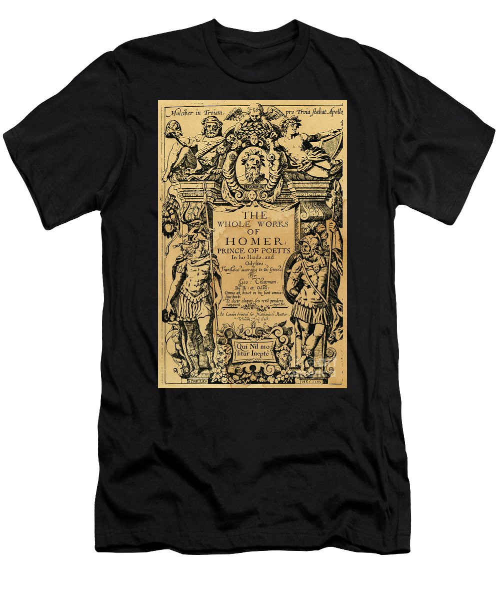 1616 Men's T-Shirt (Athletic Fit) featuring the drawing Homer Title Page, 1616 by Granger