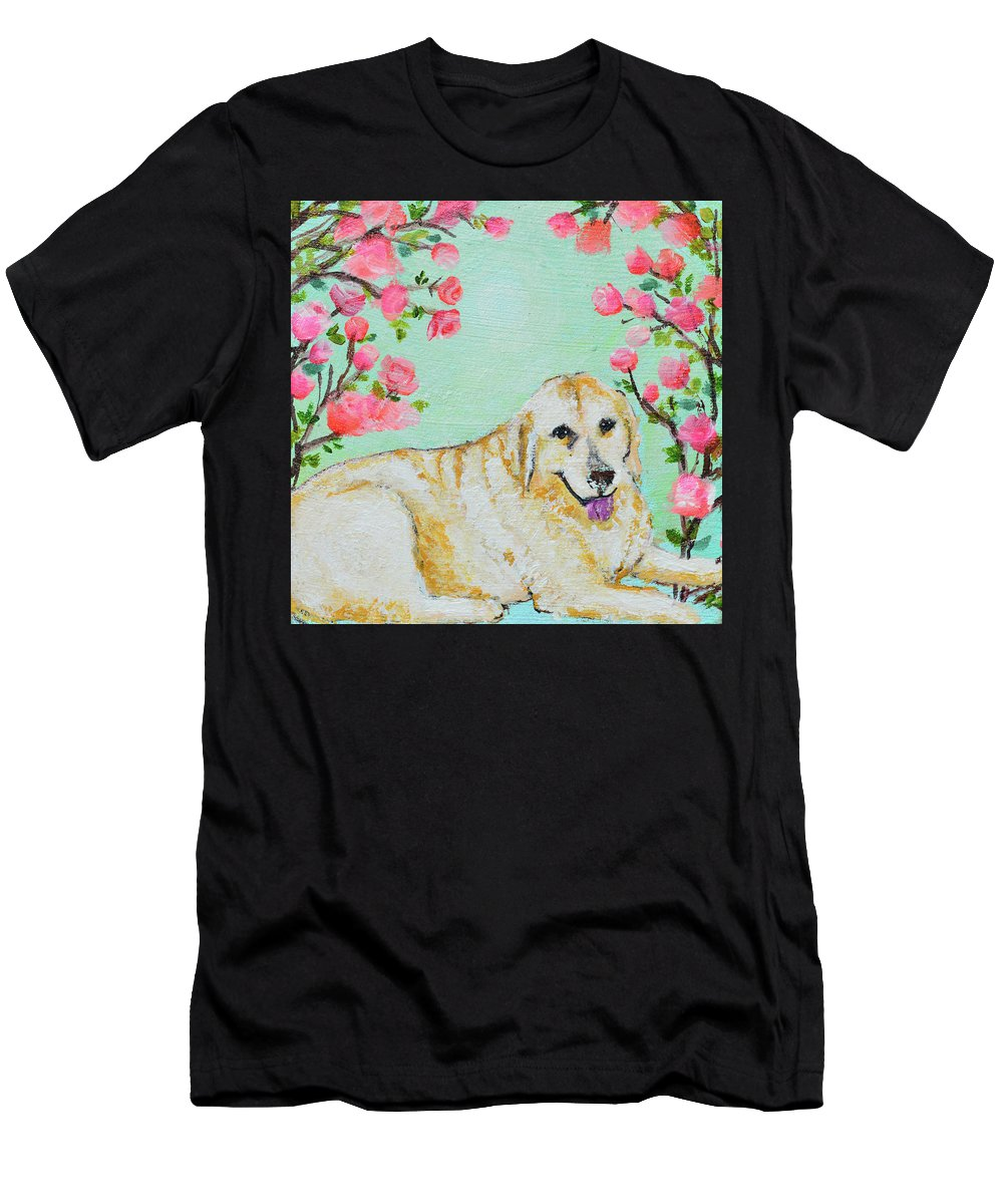 Pet Portrait Men's T-Shirt (Athletic Fit) featuring the painting Honey Flowers Everyday by Ashleigh Dyan Bayer